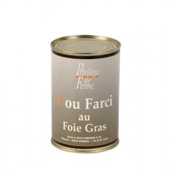 Cou de canard farci au foie de canard - boîte 370 g.