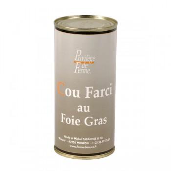 Cou de canard farci au foie de canard - boîte 550 g.
