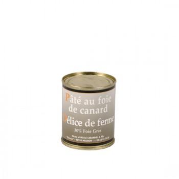 """Pâté de foie de canard """"délice de ferme"""" 30 % foie gras - boîte 130 g."""