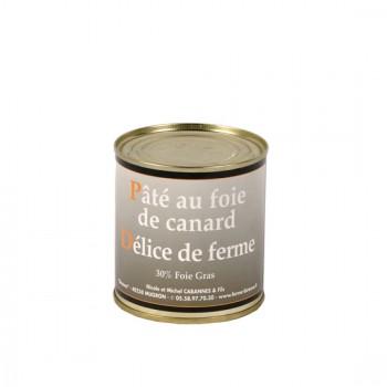 """Pâté de foie de canard """"délice de ferme"""" 30 % foie gras - boîte 270 g."""