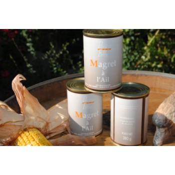 Magret de canard confit à l'ail - boîte 380 g.